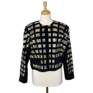 Vintage 80s Woven Genuine Leather & Suede Jacket
